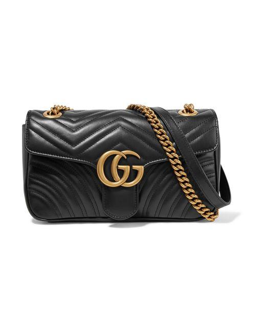 718ad8b655d Gucci - Black Sac Porté Épaule En Cuir Matelassé Gg Marmont Small - Lyst ...