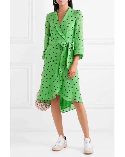 65c0f544bc3 ... Ganni - Green Polka-dot Georgette Wrap Dress - Lyst ...