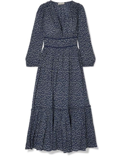 Ulla Johnson - Blue Malena Floral-print Cotton-crepon Midi Dress - Lyst