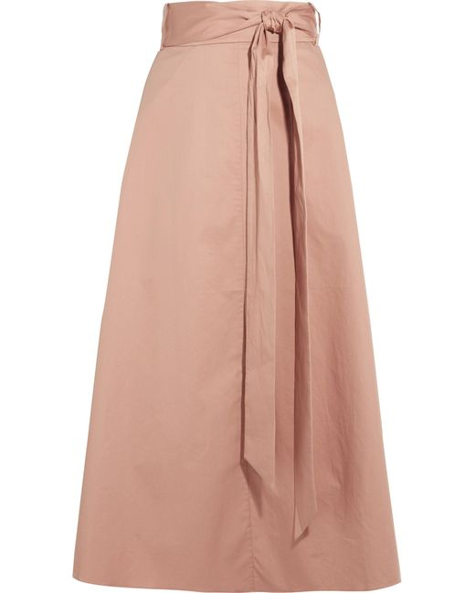 Tibi | Natural Cotton-poplin Wrap Skirt | Lyst