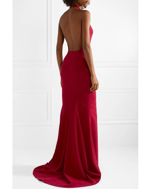 Crepe Halterneck Gown - Red Reem Acra 8iyGOb9Pti