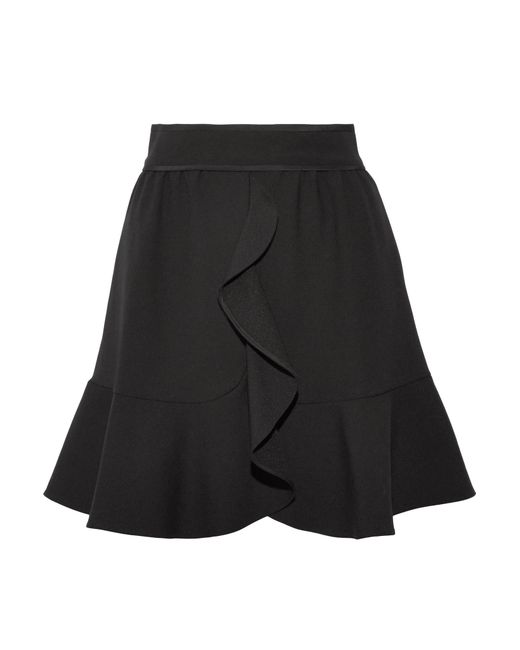 RED Valentino | Black Ruffled Crepe Mini Skirt | Lyst