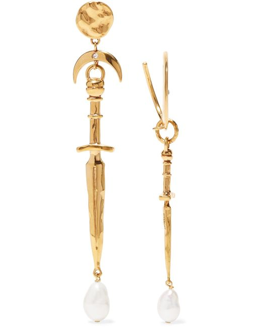 Givenchy - Metallic Dagger And Pearl-drop Earrings - Lyst