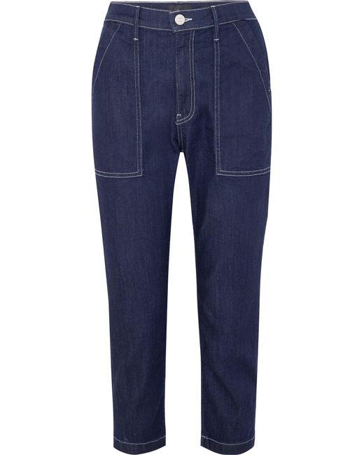3x1 - Blue Sabine Cropped Contrast-stitch Jeans - Lyst