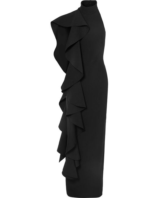 Solace London - Black Cold-shoulder Draped Ruffled Stretch-crepe Maxi Dress - Lyst