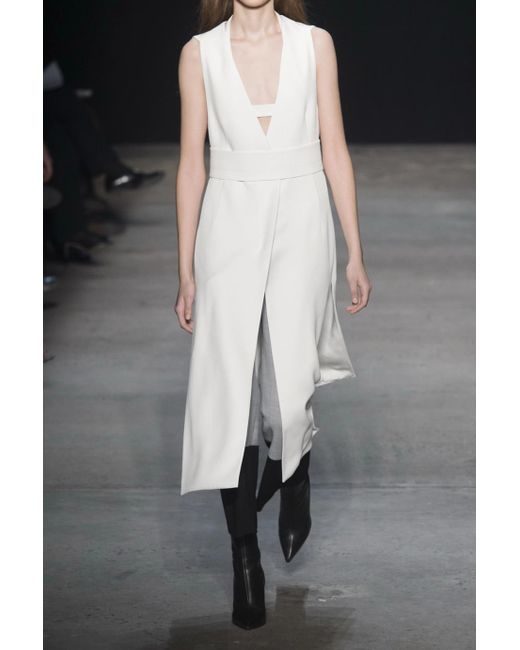 Real For Sale Cheap Sale Countdown Package Split-front Belted Crepe Dress - White Narciso Rodriguez Sale Sast Prices Cheap Price From China Free Shipping s9gfogvO