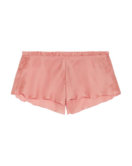 Carine Gilson | Pink Chantilly Lace-trimmed Silk-satin Pajama Shorts | Lyst