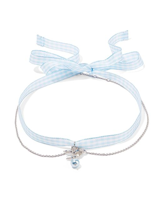 Miu Miu | Blue Gingham Cotton, Silver-tone, Crystal And Faux Pearl Choker | Lyst