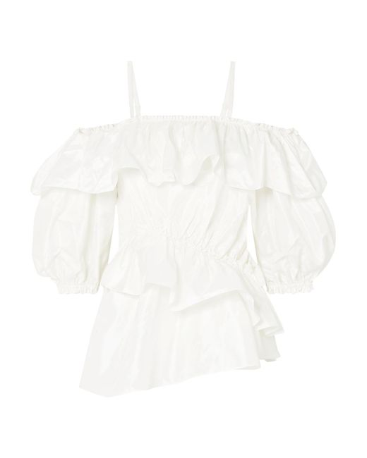 Simone Rocha - White Cold-shoulder Ruffled Silk-taffeta Top - Lyst