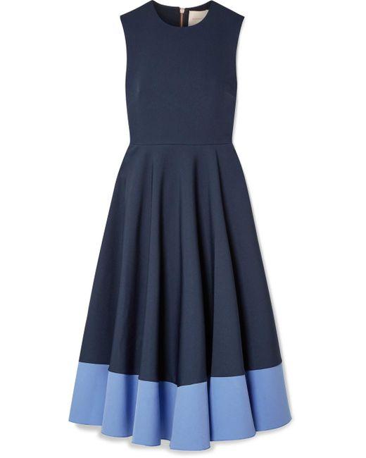 Roksanda - Blue Athena Pleated Two-tone Crepe Midi Dress - Lyst