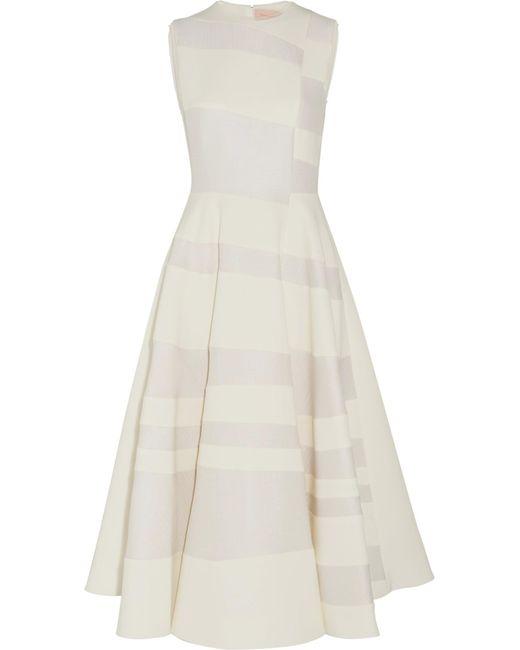 Roksanda | White Tatum Paneled Cady And Hammered-crepe Midi Dress | Lyst