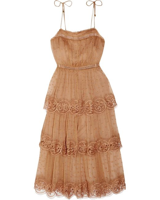 Zimmermann   Brown Meridian Circle Lace-trimmed Embroidered Silk-georgette Dress   Lyst