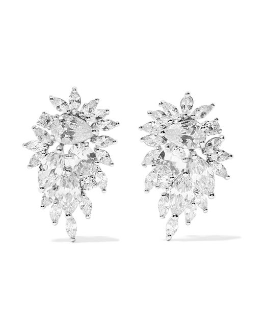 Kenneth Jay Lane | Metallic Cluster Rhodium-plated Cubic Zirconia Earrings | Lyst