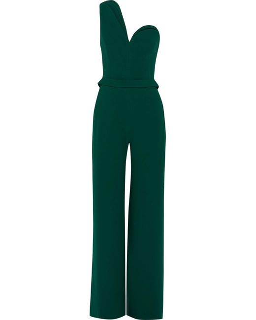 Brandon Maxwell | Green One-shoulder Crepe Jumpsuit | Lyst