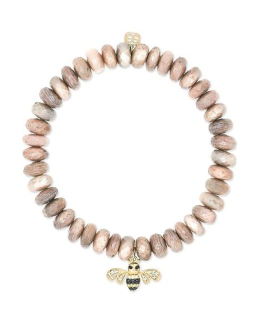 Sydney Evan Metallic Bee 14-karat Gold Multi-stone Bracelet