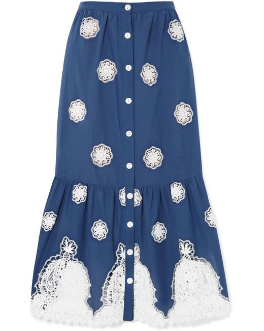 Miguelina - Blue Adrienne Versailles Broderie Anglaise-trimmed Cotton-voile Midi Skirt - Lyst
