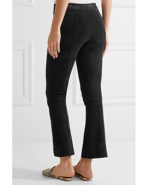 Athby Stretch-suede Bootcut Pants - Black The Row hxYljWYEK