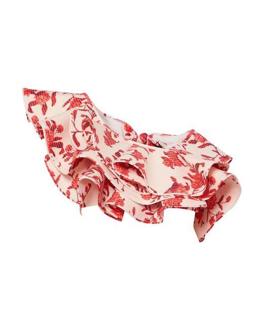 Johanna Ortiz - Red One-shoulder Ruffled Floral-print Bikini Top - Lyst