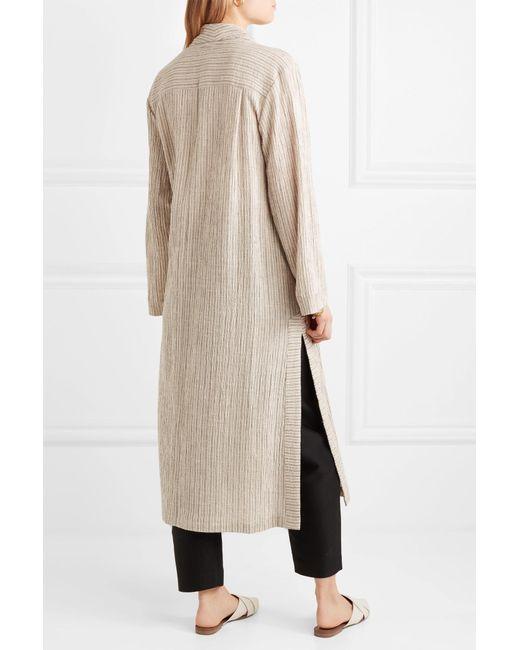 Striped Jacquard Robe - Beige Raquel Allegra Sast Sale Online Discount Shop Offer Sale New Best Wholesale xADnOYzD7