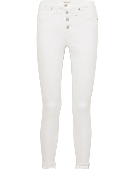 383d1769be1 Madewell - White Frayed High-rise Skinny Jeans - Lyst ...