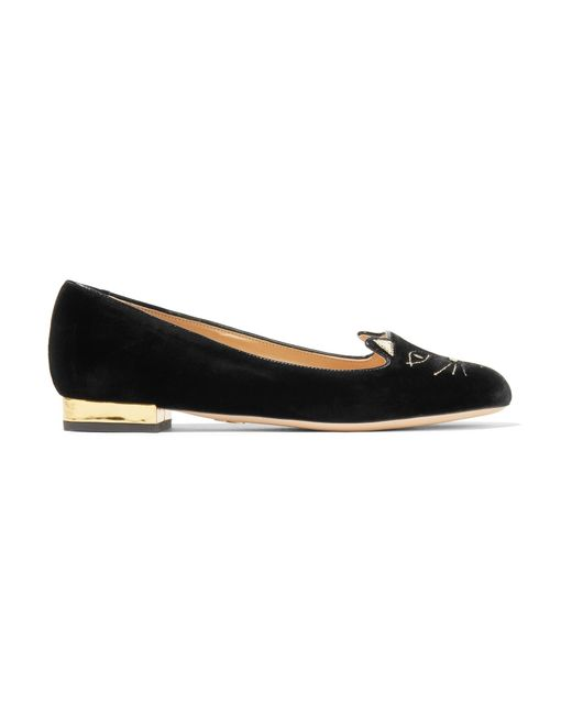 Charlotte Olympia | Black Kitty Embroidered Velvet Slippers | Lyst