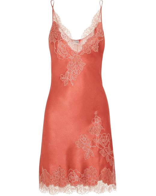 Carine Gilson | Pink Embroidered Chantilly Lace-trimmed Silk-satin Chemise | Lyst