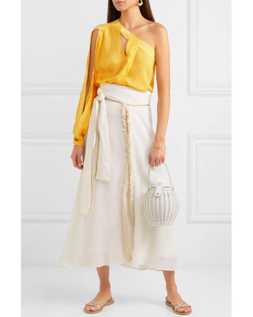 Christina One-shoulder Cutout Silk-jacquard Top - Yellow Zeus + Dione Buy Cheap Low Shipping Fee Discount Explore Buy Cheap Affordable Shopping Online For Sale Cheap Sale Lowest Price OhGFzL