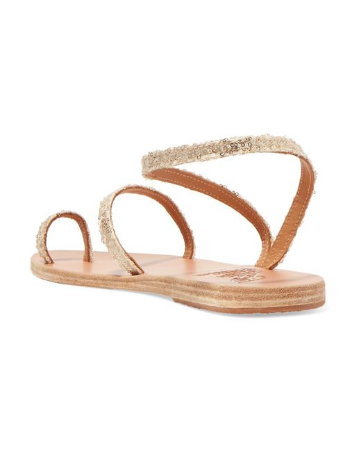 Newest Online Discount Hot Sale Eleftheria Sequined Leather Sandals - Gold Ancient Greek Sandals For Nice Cheap Online PIcgguUwgI