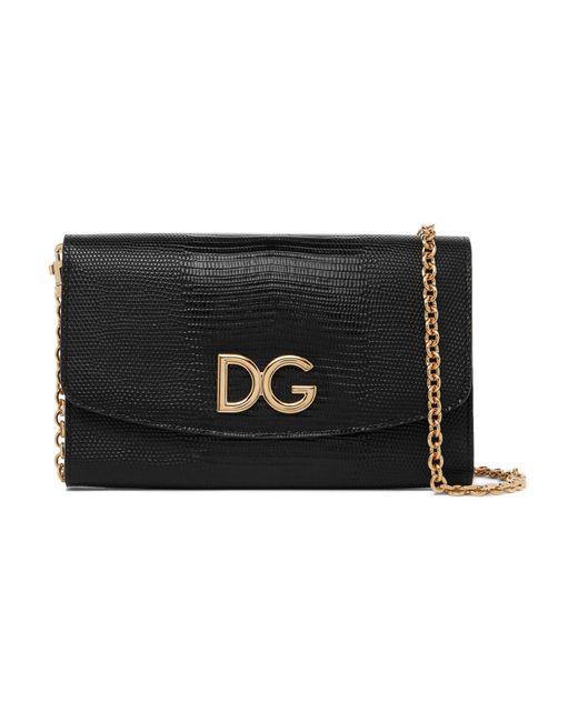 Dolce & Gabbana - Black Lizard-effect Leather Shoulder Bag - Lyst