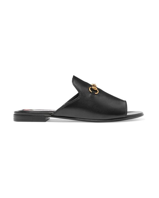 7bee70eee0d Gucci - Black Horsebit-detailed Leather Slides - Lyst ...