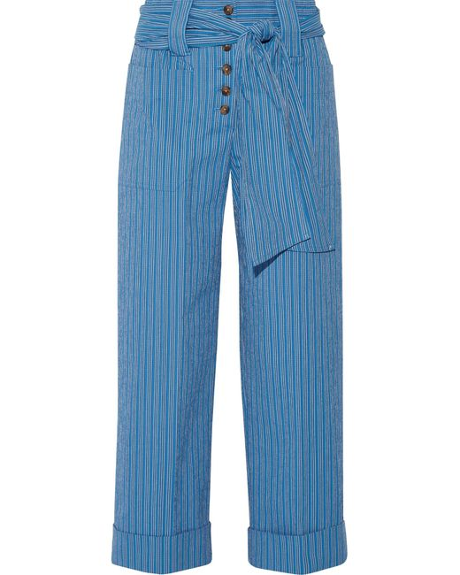 Tory Burch   Blue Robin Pinstriped Cotton-blend Seersucker Culottes   Lyst