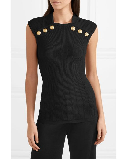 0cbe6f088f0d0a Lyst - Balmain Button-embellished Ribbed-knit Tank in Black - Save 27%