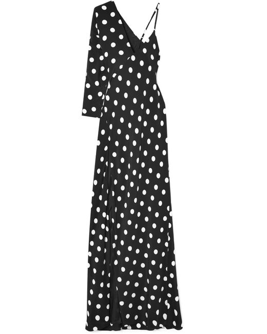 Michelle Mason - Black One-shoulder Polka-dot Silk Crepe De Chine Gown - Lyst