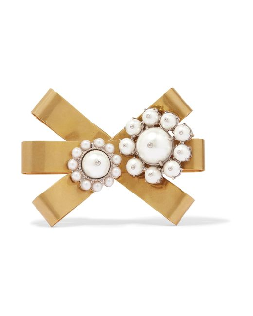 Miu Miu - Metallic Gold-plated, Silver-tone And Faux Pearl Brooch - Lyst