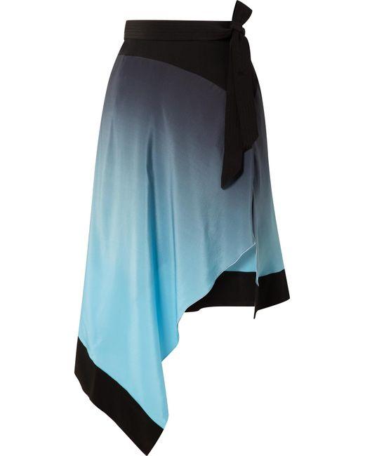 Mugler - Blue Asymmetric Ombré Silk Crepe De Chine Skirt - Lyst