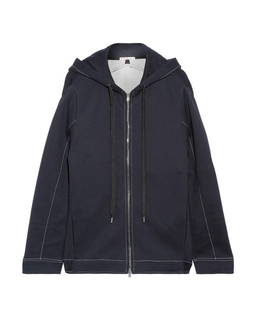 Marni   Blue Oversized Cotton-blend Jersey Hooded Top   Lyst