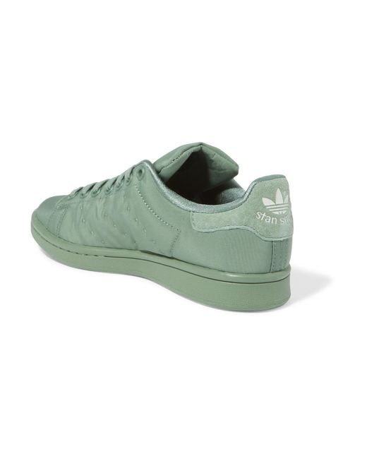 f2a293b02ded ... Adidas Originals - Green Stan Smith Suede-trimmed Satin-twill Sneakers  - Lyst ...