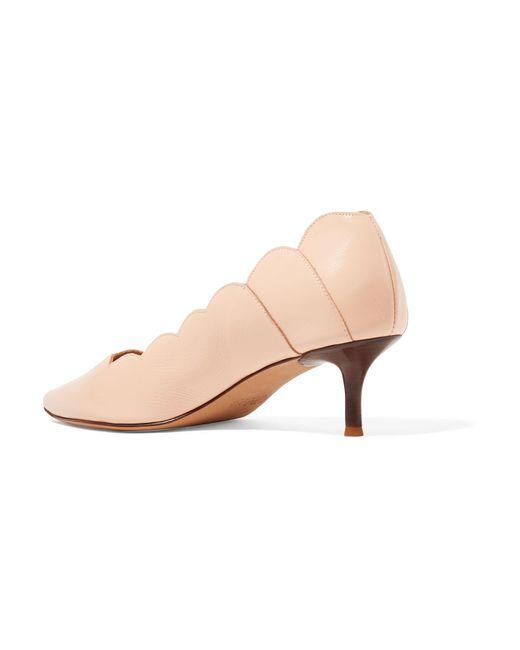 926a0c048235 ... Chloé - Multicolor Lauren Scalloped Glossed-leather Pumps - Lyst ...