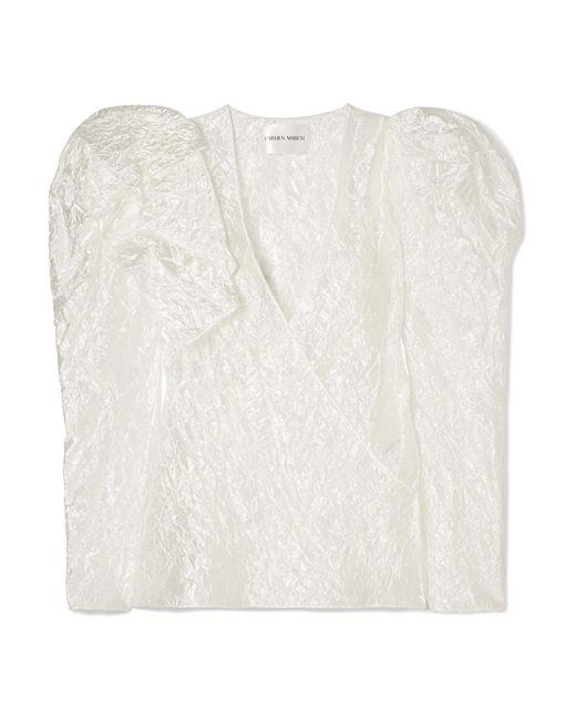Carmen March - White Wrap-effect Ruffled Crinkled-taffeta Blouse - Lyst