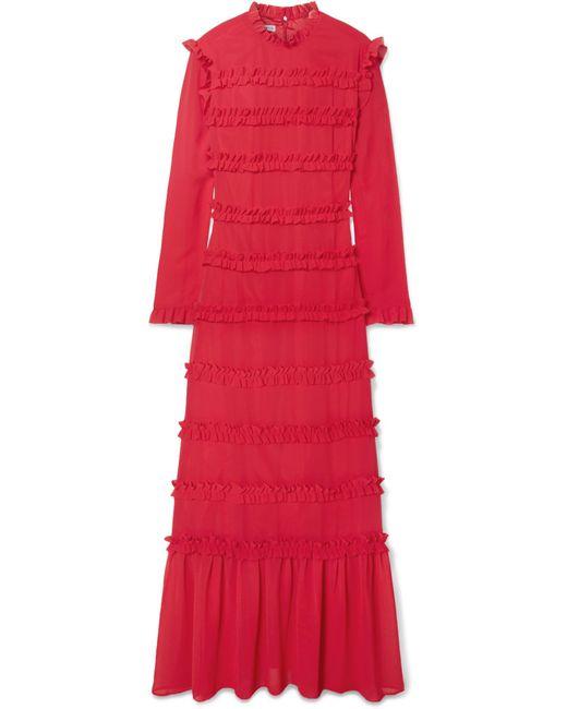 Rejina Pyo - Red Hadley Ruffled Chiffon Maxi Dress - Lyst
