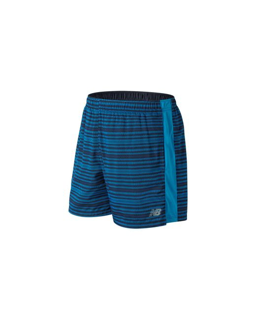 New Balance - Blue Accelerate Graphic 5 Inch Short for Men - Lyst