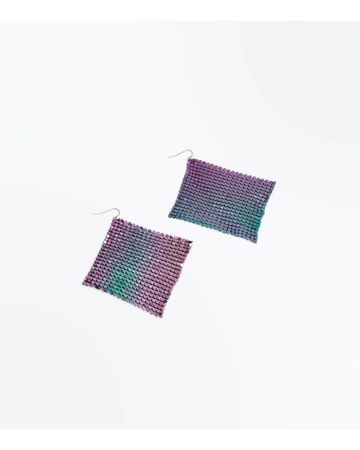 New Look | Purple Iridescent Square Chainmail Earrings | Lyst