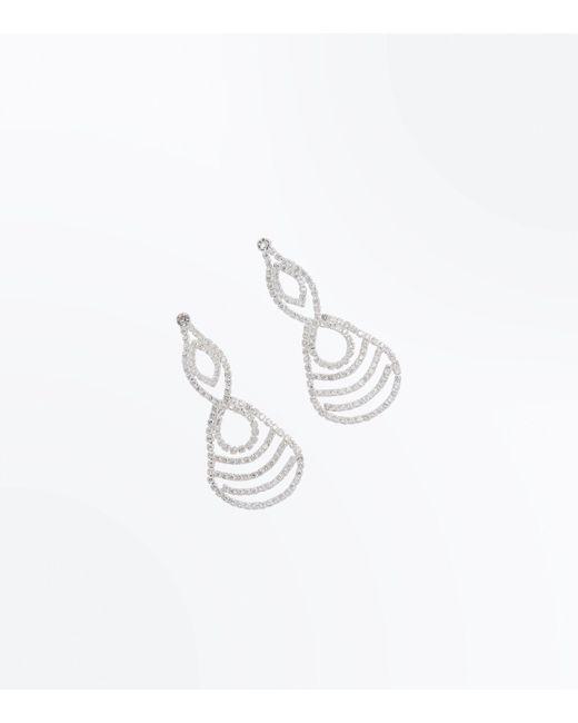 New Look | Metallic Silver Cubic Zirconia Loop Drop Earrings | Lyst