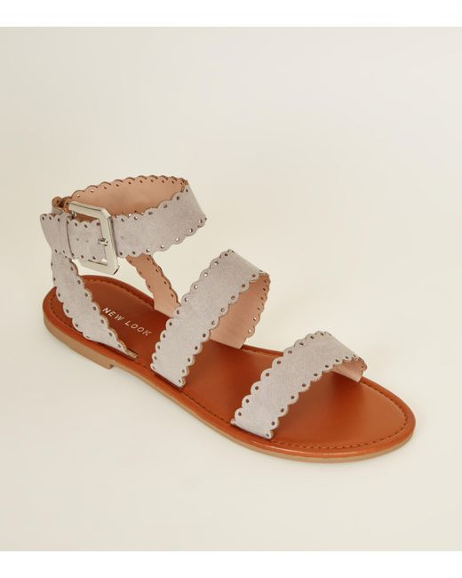073a44395f6f New Look Grey Suedette Scallop Strap Flat Sandals in Gray - Lyst
