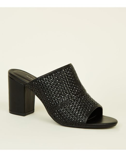 9a275b20726 New Look Black Woven Block Heel Mules in Black - Lyst