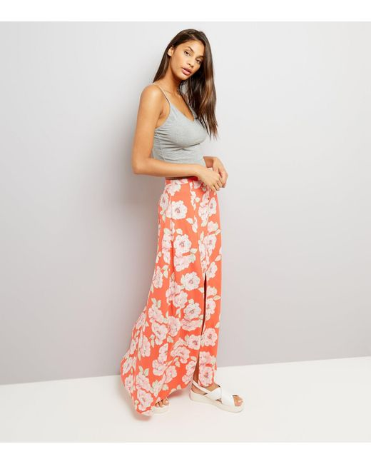 new look floral print button front maxi skirt in