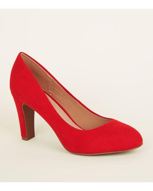3db798de8fcf New Look Red Comfort Flex Suedette Block Heel Courts in Red - Save ...