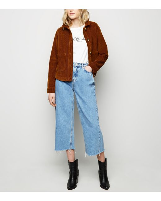 b14571f5a6b New Look Blue Raw Hem High Waist Wide Leg Jeans in Blue - Lyst