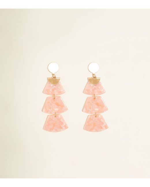 New Look - Pale Pink Drop Trapezium Resin Earrings - Lyst