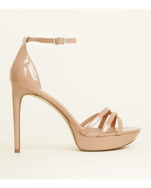 57a834e50472 New Look Nude Patent Strappy Platform Heels in Natural - Lyst